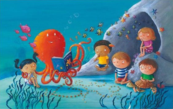 Octopus reading to children